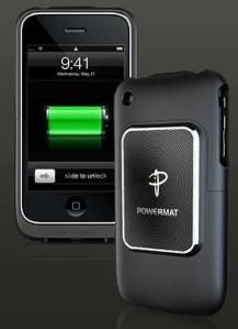 "apple iphone with ""receiver coil"" case for the Powermat system"